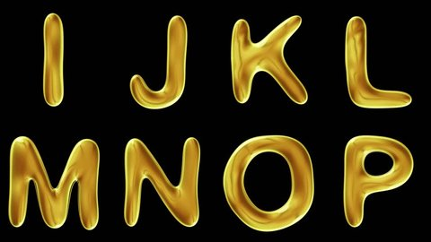 Alphabet from gold isolated on black background. The letter I J K L M N O P . alpha channel 3d rendering 4K