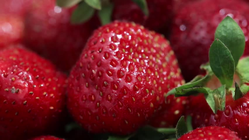 Appetizing and beautiful red strawberries. Fresh strawberries. Strawberry on red background. Best red strawberry texture. Organic ripe strawberry.  | Shutterstock HD Video #1012397378