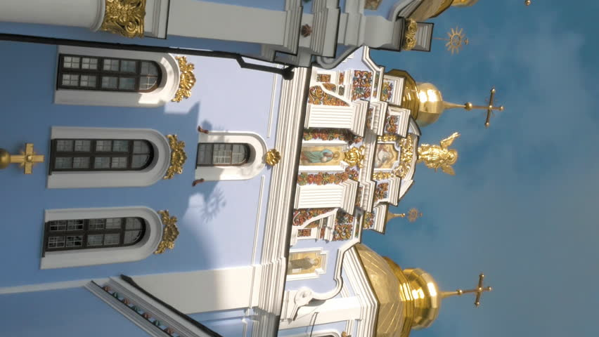 St. Michael's Golden-Domed Monastery in Kiev, Ukraine. The Monastery was founded on 11th century. Christian orthodox classic architecture. Vertical format video.