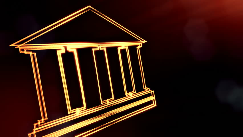 icon of bank. Financial background made of glow particles as vitrtual hologram.. 3D seamless animation with depth of field, bokeh and copy space. Dark version 3