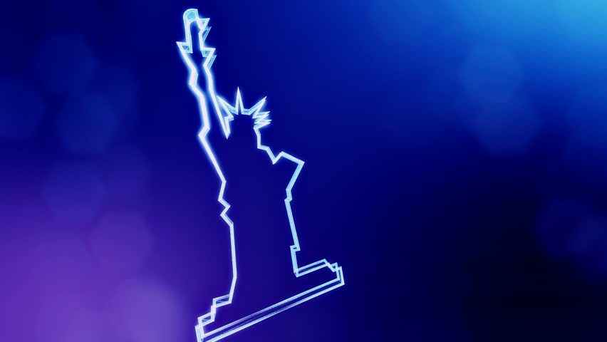 icon of The Statue of Liberty. Background made of glow particles as vitrtual hologram. 3D seamless animation with depth of field, bokeh and copy space. Blue version 3