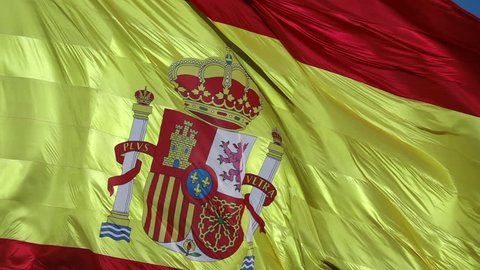 Flag of Spain waving in high frame rate