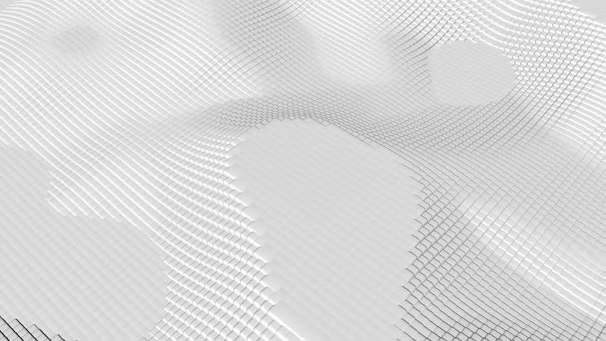 3D Render abstract square geometric Surface Loop light bright clean minimal squares grid pattern, random waving motion background.Seamless loop 4K. White boxes loop abstract animation.