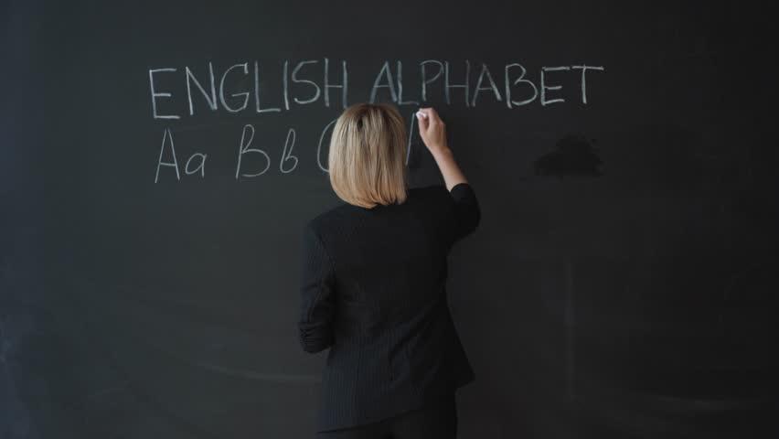 Education concept - ABC alphabet school blackboard concept. School teacher writing ABC alphabet in English class or preschool.on chalkboard.
