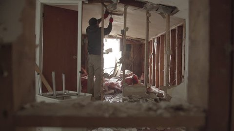 Interior House Demolition-  Tearing Open Ceiling
