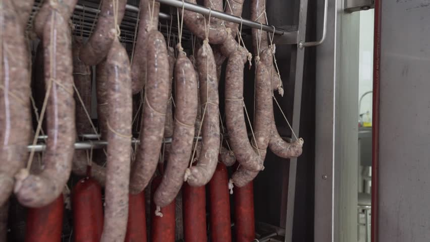 A lot of raw sausages hanging on rack in smokehouse. Man worker closes door of smokehouse at factory | Shutterstock HD Video #1012529228
