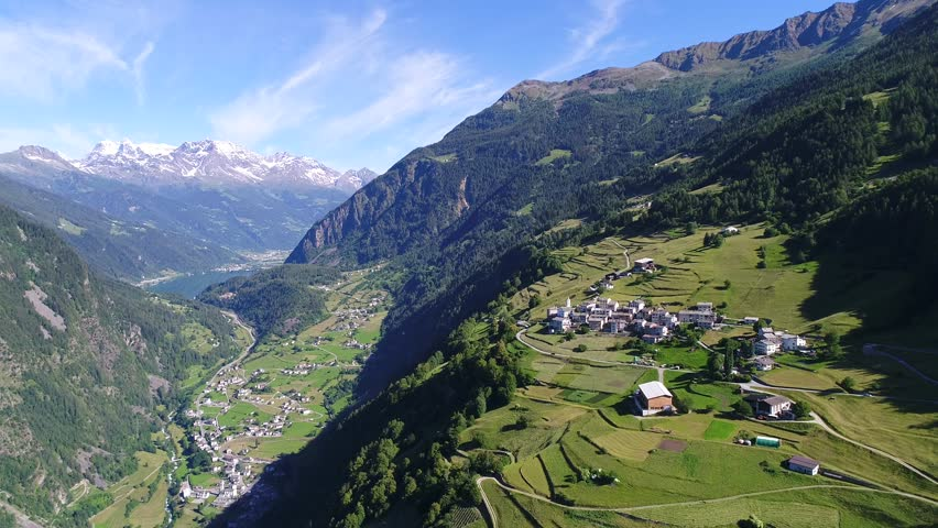 Aerial view of Val Poschiavo, village of Viano and Brusio. Grison Canton in the Swiss Alps.