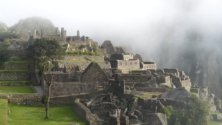 Scene from Mach Picchu Peru South America Slow Motion view of the buildings and landscape