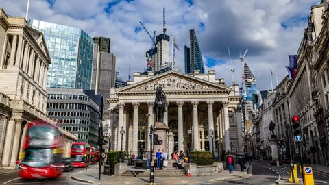 8k time lapse zoom in view of the Royal exchange near the Bank of England, in the City of London