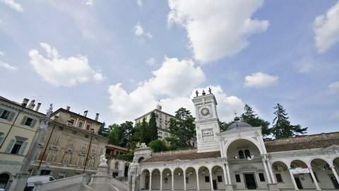Udine, Italy. May 2018. Time lapse view of Liberty Square in Udine