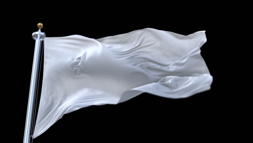 looping Blank plain white flag with flagpole waving in wind.A fully digital rendering,The animation loops at 20 seconds.flag 3D animation with alpha channel included. cg_06214_4k