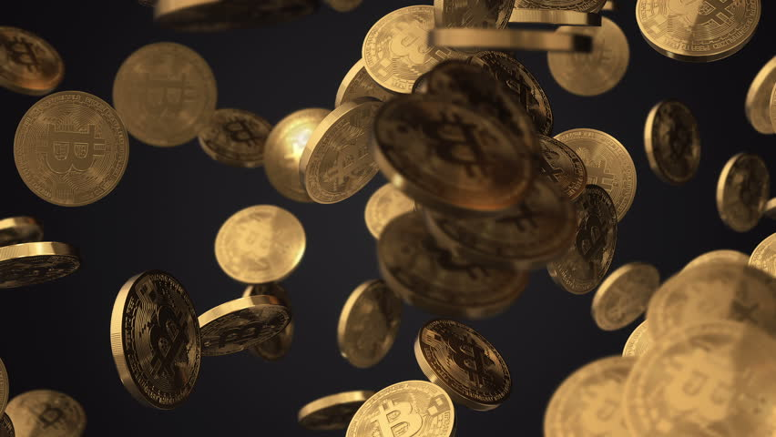 Animation of falling gold coins of bitcoin. Abstract financial background of future digital currency. Animation of seamless loop.