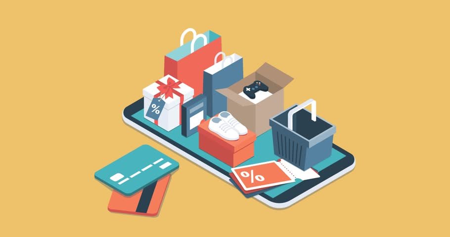Online shopping app: gifts, shopping items, credit cards and discount coupons on a smartphone