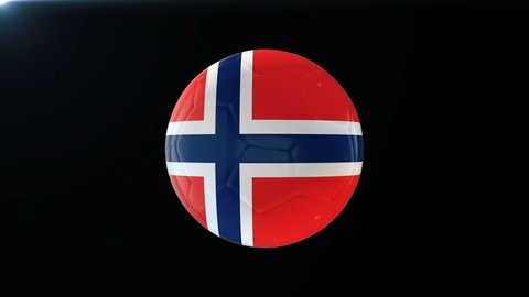 Football with flag of Norway, soccer ball with Norwegian flag, sports equipment rotating on black background, 3D animation