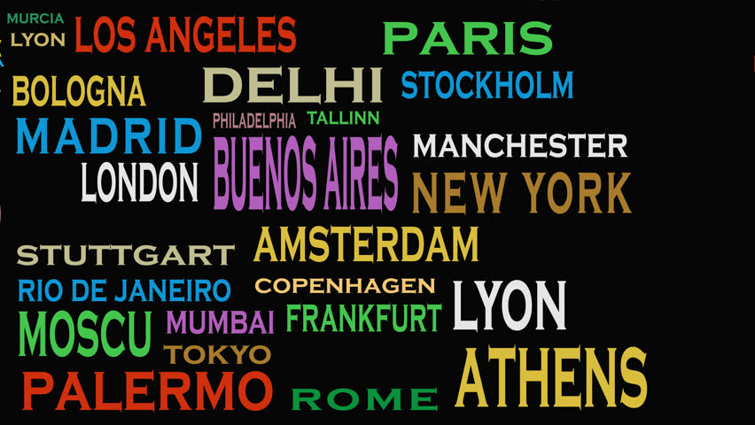 4k footage Cities of the world, travel destinations word cloud concept | Shutterstock HD Video #1012671968