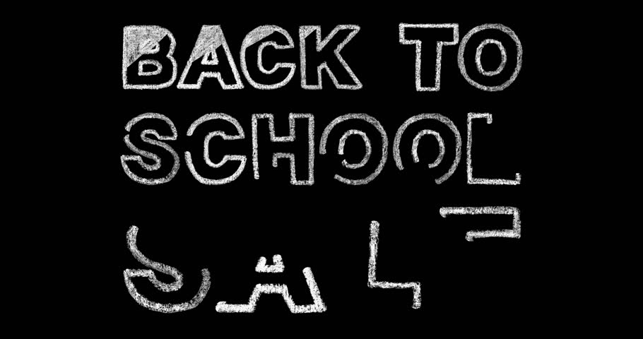 White bold chalk lettering back to school sale text on black background, back to school concept, stock video motion graphic animation in 4k resolution | Shutterstock HD Video #1012675148