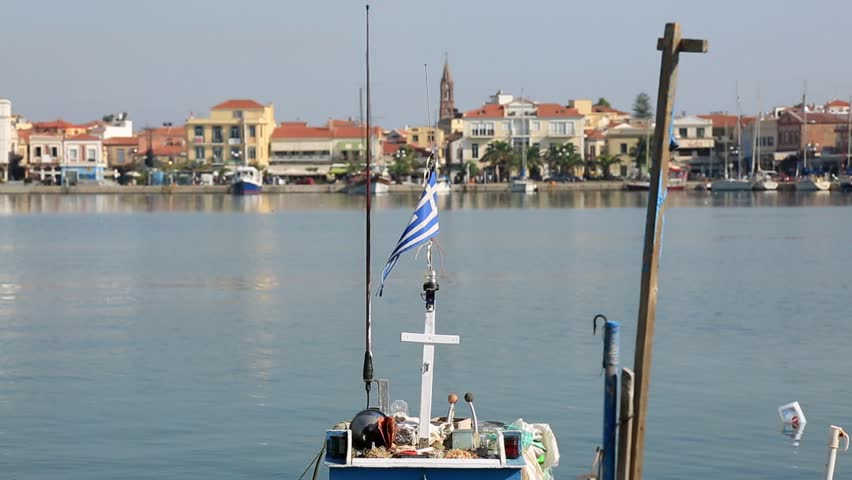 The port of Mytilene in Greece on the island of Lesbos.