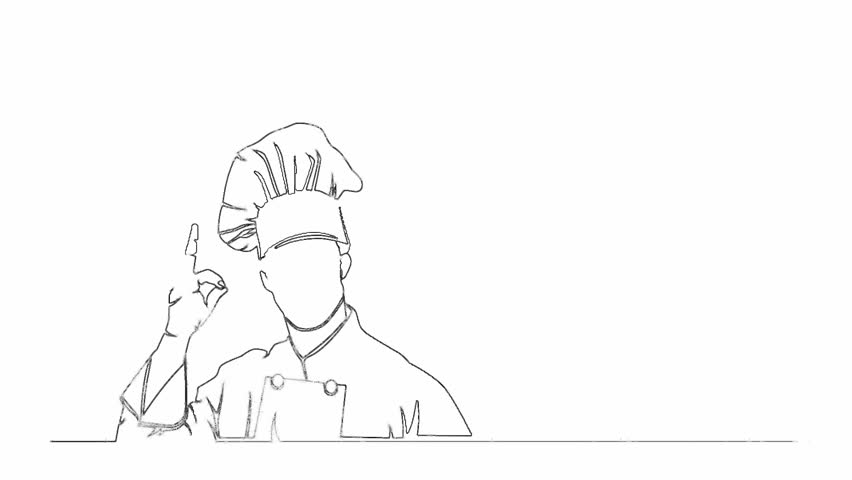 Self drawing animation of continuous one line drawing of isolated vector object - chef giving approval okay sign with hand | Shutterstock HD Video #1012689338