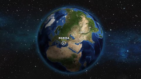 TURKEY MANISA ZOOM IN FROM SPACE