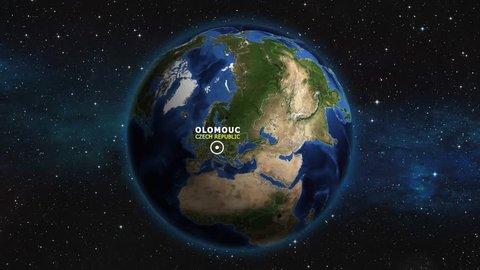CZECH REPUBLIC OLOMOUC ZOOM IN FROM SPACE