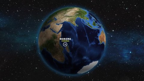 COMORAS MORONI ZOOM IN FROM SPACE