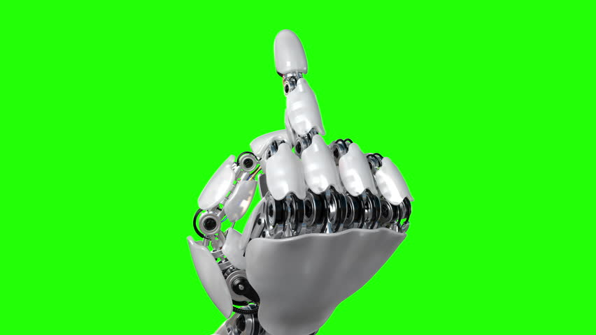 Robot Hand Shows Middle Finger Fuck You on a Green Background. Beautiful 3d animation. 4K