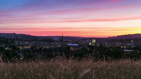 Red Sky Sunset Time Lapse of Historic City of Bath, Somerset UK