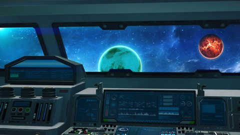 Spaceship cockpit interior, inside of alien spacecraft cabin in space with planets, 3D animated science fiction scene