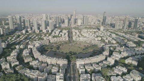 Tel Aviv center  aerial 4k footage raw dlog ungraded flat
