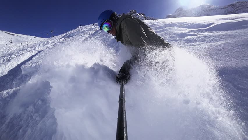 Deep - Deep - Powder Snow! Huge Snow Waves Were Made By Snowboarder At The End Of Video Footage. Snowboard, Mountain Whistler Canada