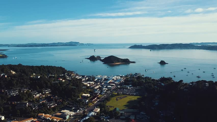 Sunrise over bay of islands, Paihia New Zealand. Aerial View. | Shutterstock HD Video #1012827428