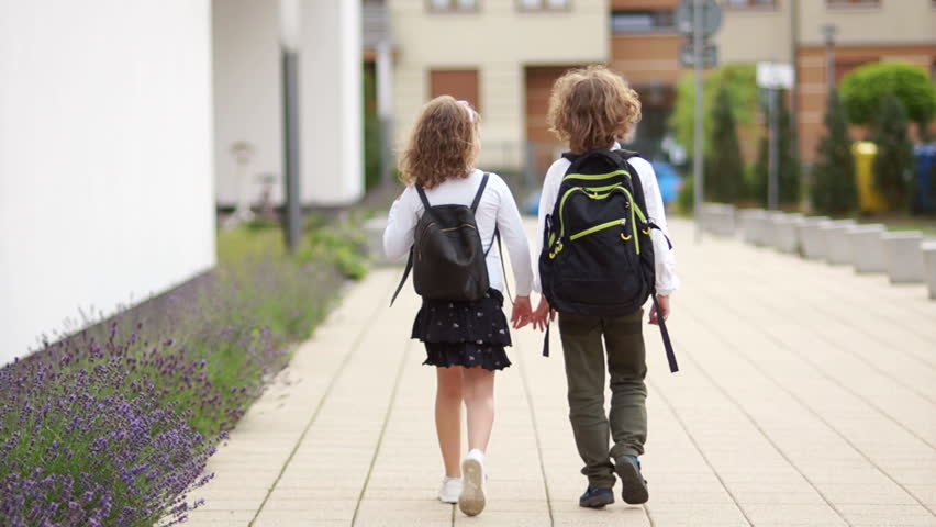 Two curly schoolchildren, a boy and a girl, go to school with backpacks. Back view. Back to school, knowledge day
