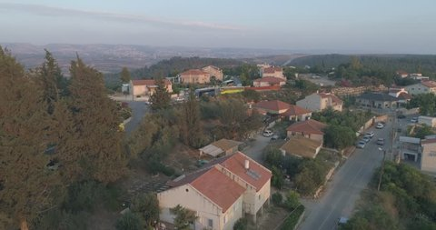 settlements Israel Aerial Drone On Northern District Golan Heights. Valley view of houses at settlement