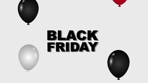 black friday sale inscription decorative balloons black friday animation hd