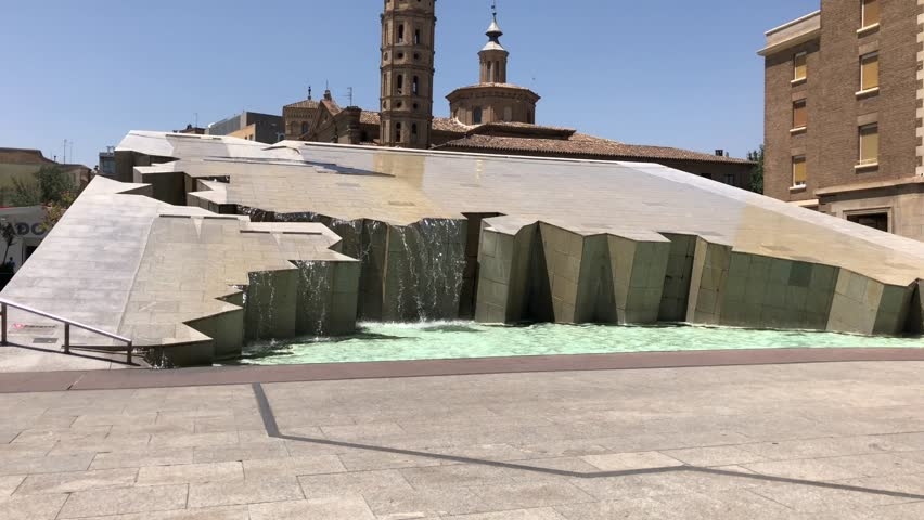 Fountain of plaza pillar, Zaragoza,Aragon,Spain