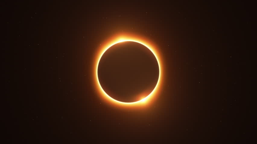Rotating Twin Flared Solar Eclipse with Light Rays over Starry Sky Loop | Shutterstock HD Video #1012897298