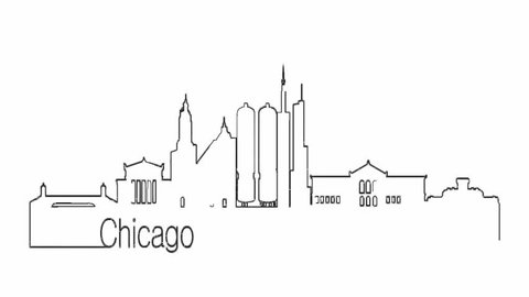 Self drawing animation of continuous one line drawing of isolated vector object - city urban skyline outline of Chicago Illinois