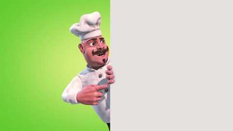 Fun Chef Fruit Alpha Matte 3D Rendering Animation
