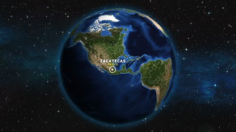 MEXICO ZACATECAS ZOOM IN FROM SPACE