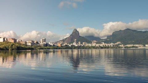 Clouds over Rio De Janeiro Mountains and Lagoa Rodrigo de Freitas Lake , Brazil