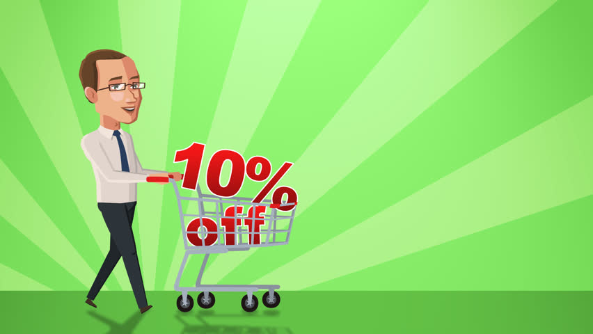 Cartoon Situation Tom Businessman. Man Character Walk with Shopping Cart with 10 Percent Animation Alpha Channel