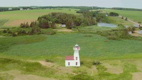Drone rotates around lighthouse on ocean shore in Prince Edward Island