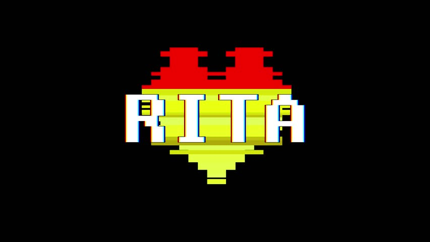 pixel heart RITA word text glitch interference screen seamless loop animation background new dynamic retro vintage joyful colorful video footage #1013080448