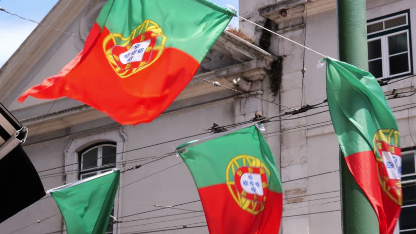 Portugal Flags Decorating Street. Many flags of Portugal waving and decorating the street in Lisbon