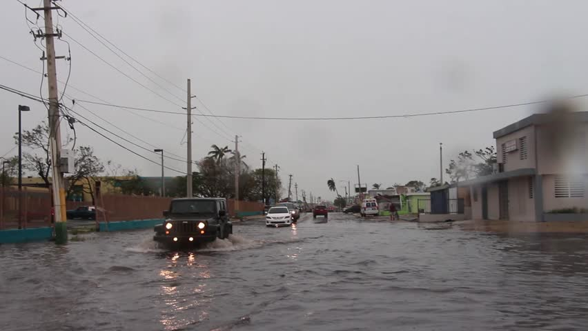 Cars driving through flooded street