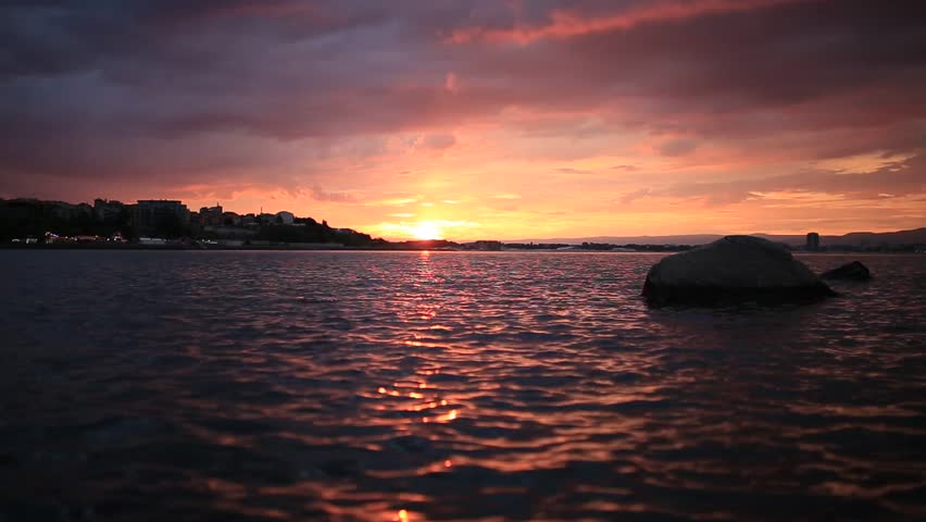 Beautiful sunset in town of Nessebar, Bulgaria on Black Sea.
