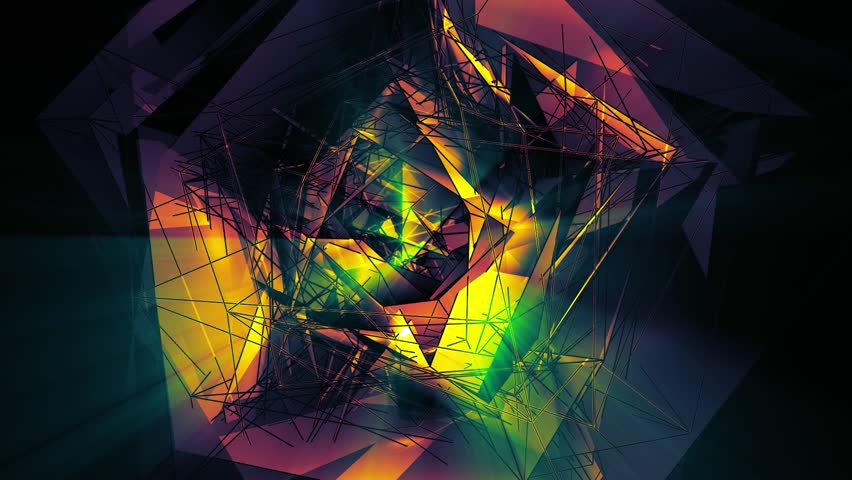 Beautiful Abstract Multicolored Polygonal Surface Moving Animation. Dark Triangles Motion With Neon Rays On The Black Background. Three Variations. | Shutterstock HD Video #1013150918
