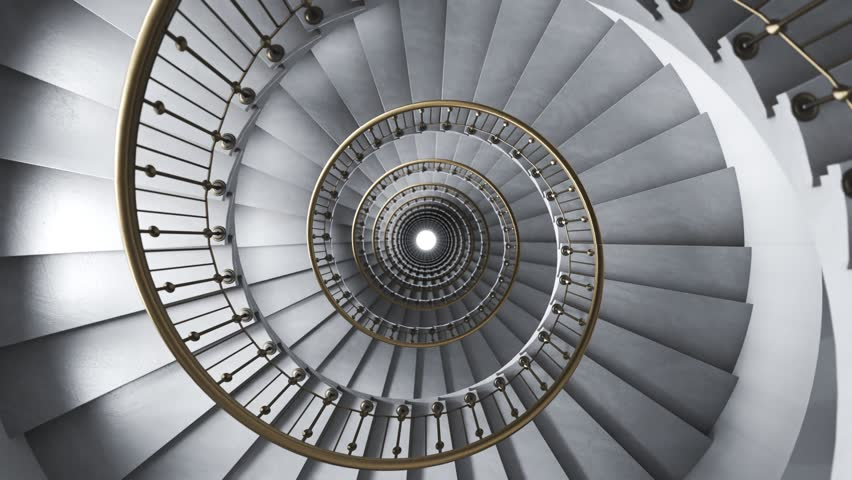 03526 Bright glamour spiral staircase endless loop. Camera moving down. | Shutterstock HD Video #1013156648