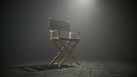 03524 Director chair in dense smoke. Camera zoom in