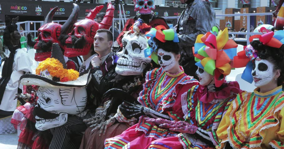 RUSSIA, MOSCOW - June 29, 2018: Mexican Carnival Celebration of the dead in the House of Mexico in Gostiny Dvor. The procession participants performed the national music of Maryachi and Mexican folk